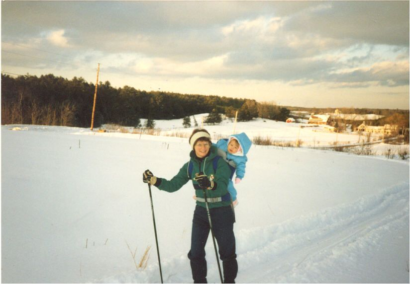 Mom and I nordic skiing in 1989