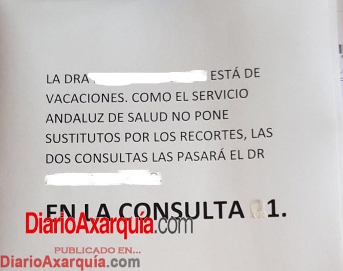 Cartel del centro de Salud de Torre del Mar.