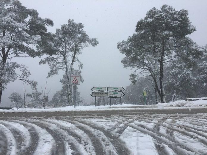 La Diputación actúa en una docena de carreteras de la Serranía y la Axarquía afectadas por la nieve