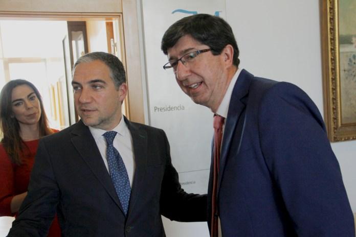 Los líderes de ambas formaciones mantienen un encuentro para analizar la situación del pacto de investidura en Diputación y repasar el trabajo conjunto en la provincia de Málaga.