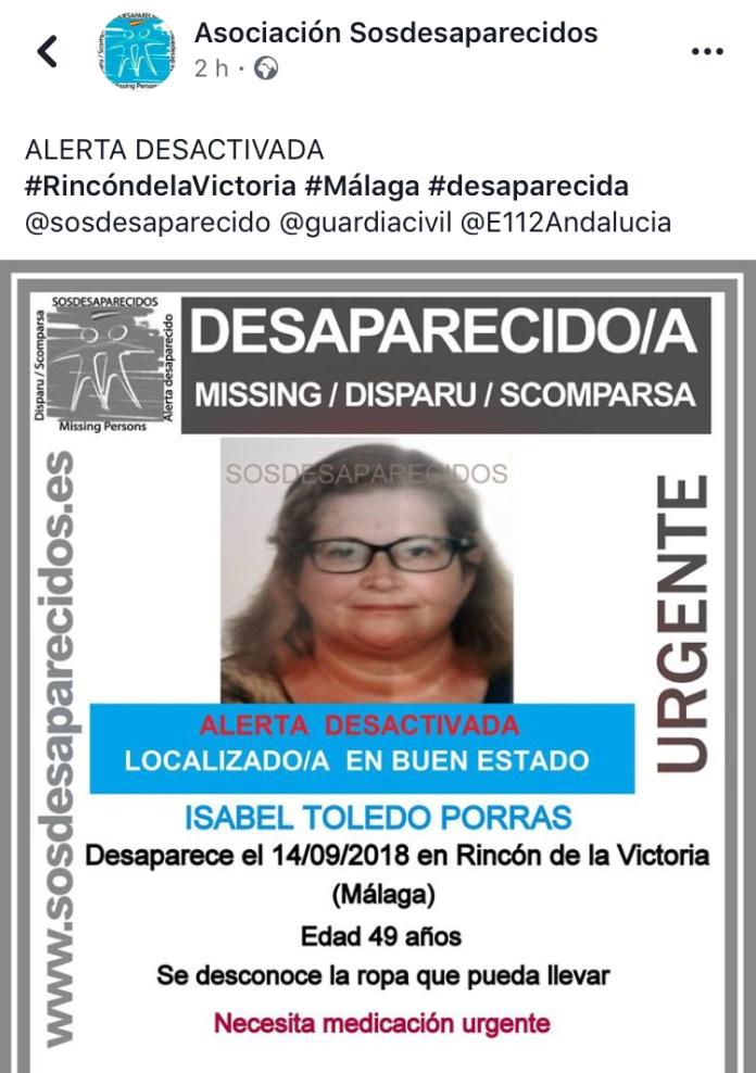 Localizan en buen estado a la mujer desaparecida en Rincón de la Victoria