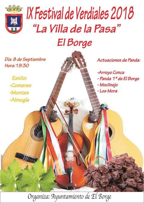 El Borge acogerá el sábado el IX Festival de Verdiales 'Villa de la Pasa'
