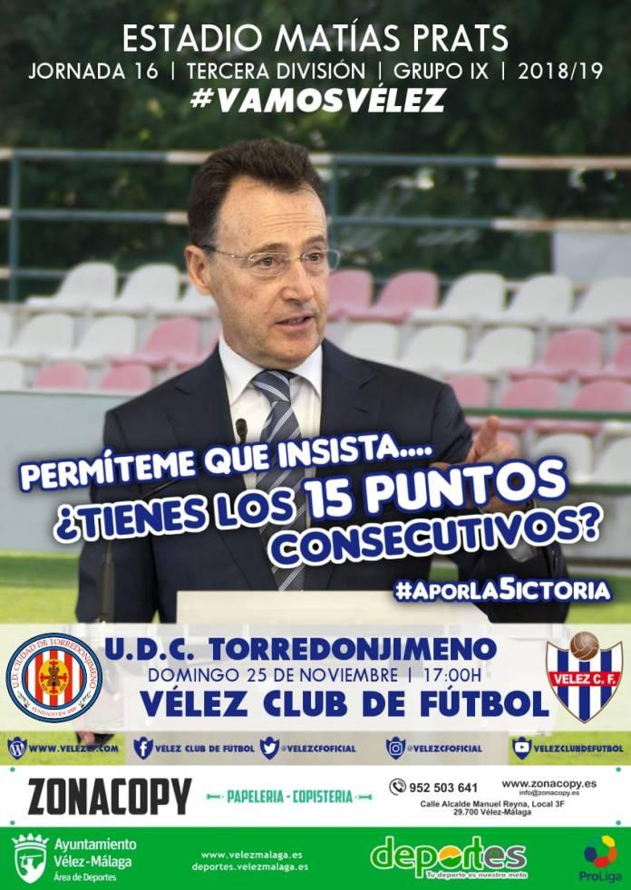 El Vélez llega a Torredonjimeno como favorito (Dom.17;00h.)