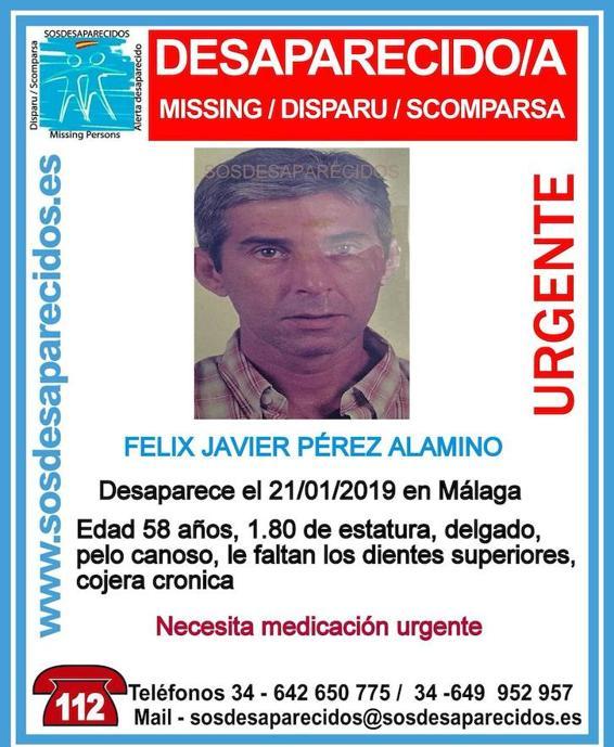 Félix Javier Pérez Alamino, de 58 años, necesita medicación urgente. Mide unos 1,80 metros de estatura, es delgado y tiene el pelo canoso.