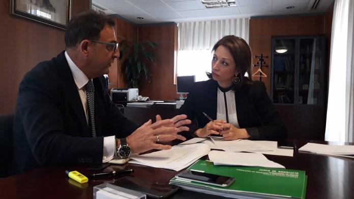 La delegada de la Junta y el delegado de Salud abordan las medidas previstas para reducir las listas de espera del SAS en la provincia.