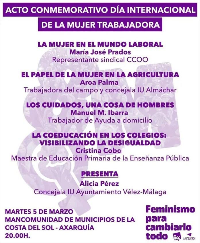 Izquierda Unida anima a la movilización del 8M con un acto comarcal, para hablar de feminismo desde lo laboral, social y educativo
