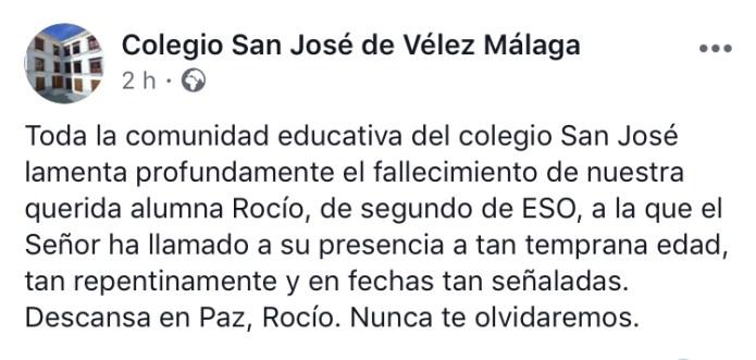 Conmoción en el colegio San José de Vélez-Málaga por el fallecimiento de una alumna de 13 años