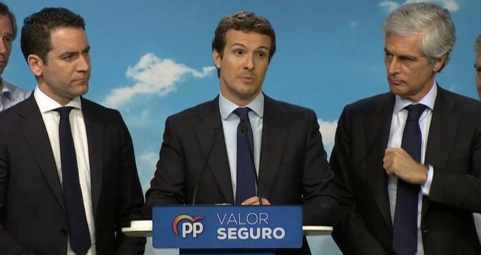Casado admite que el resultado del PP es «muy malo» y pide al PSOE un Gobierno sin los independentistas