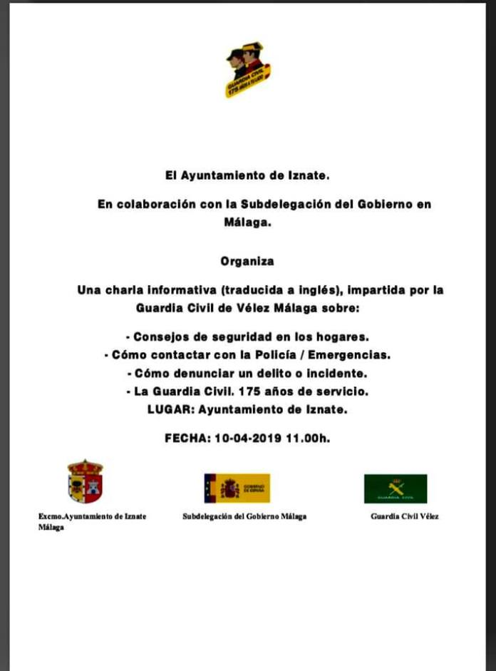 La Guardia Civil impartirá una charla sobre seguridad en Iznate