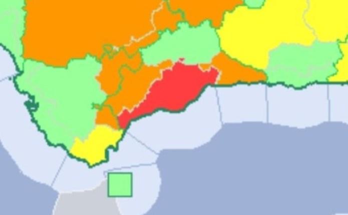 La Agencia Estatal de Meteorología activa el aviso rojo por lluvias y tormentas en Málaga
