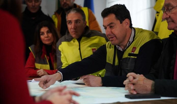 Moreno destaca la colaboración institucional en los incidentes causados por la lluvia en Málaga