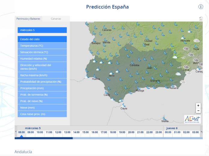 Descenso generalizado de las temperaturas en Andalucía