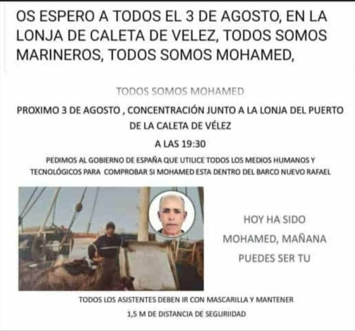 Concentración para pedir al Gobierno que continúe la búsqueda de Mohamed, el marinero de Caleta de Vélez desaparecido