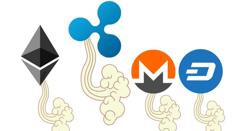 Ethereum, Ripple, Dash y Monero entre las monedas que más aumentaron hoy