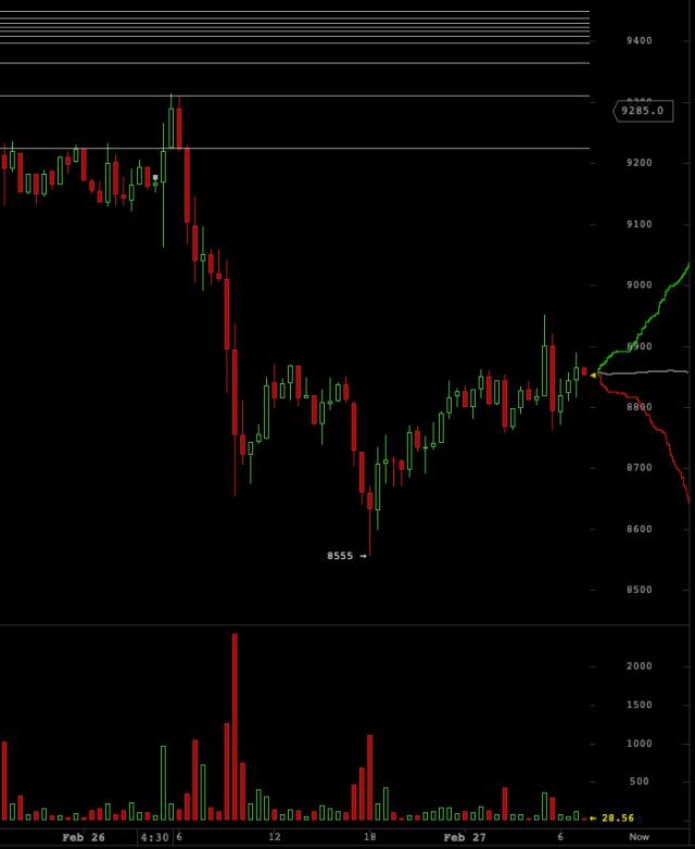 Caida del 8% del precio de BTC - captura de pantalla de bitcoinwisdom.io