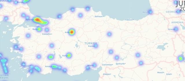 Distribución de los comercios que aceptan pagos con criptos en Turquía. Imagen de Coinmap.com