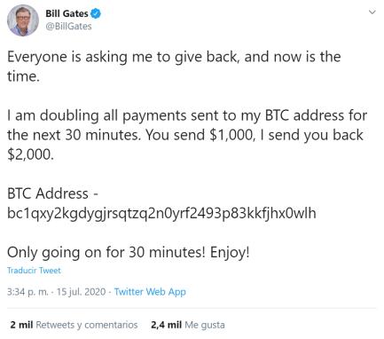 Hackean cuenta oficial de Bill Gates