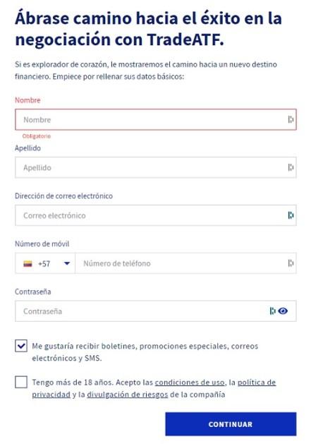 Formulario para la apertura de cuenta en Global TradeATF. Imagen extraída de Global TradeATF