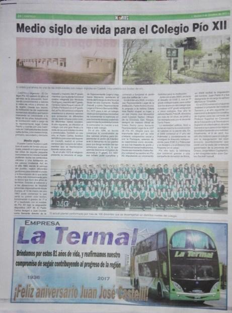 La historia del Colegio Pio XII en el suplemento 81 AÑOS DE CASTELLI del diario NORTE