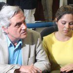 Marcos Rodríguez, Secretario de Transparencia y Anticorrupción, junto a su abogada, en el Juzgado Primero de Sentencia. Foto Diario Co Latino/Juan Carlos Villafranco.