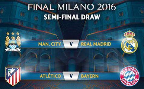 Real Madrid-City y Bayern-Atlético, semifinales de la Champions