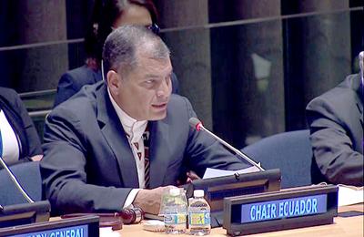 Menos muros y más justicia social, pide Ecuador al asumir jefatura del G77