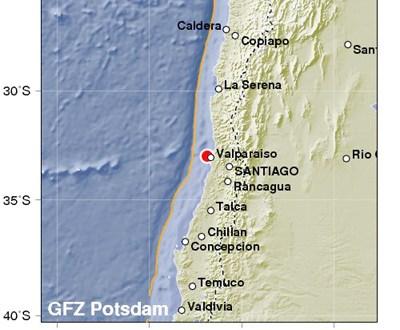 Un fuerte sismo de magnitud 6,9 sacude el centro de Chile