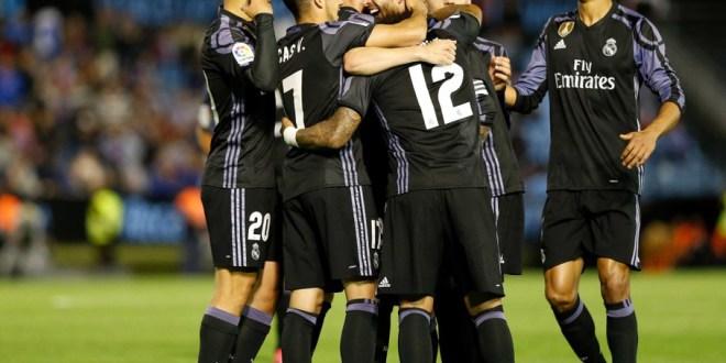 El Real Madrid golea al Celta  y atisba el título de la Liga española