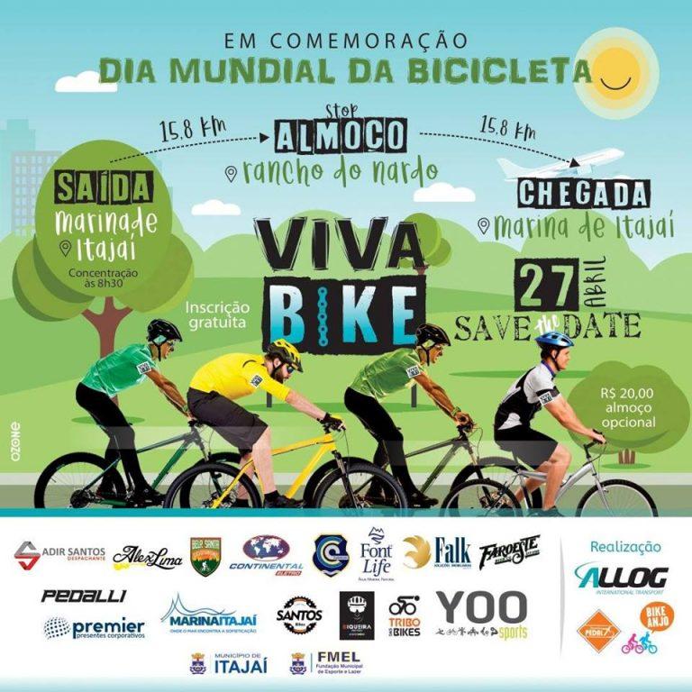 Passeio ciclístico Viva Bike comemora Mês da Bicicleta com percurso entre Itajaí e Camboriú