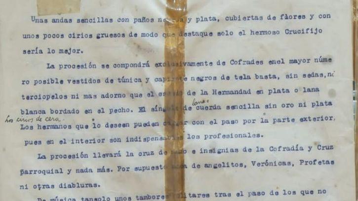 Extracto del documento redactado en 1921 en el que se especifica cómo sería el cortejo de la cofradía.