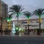 La Plaza Bohemia iluminada por las luces navideñas.