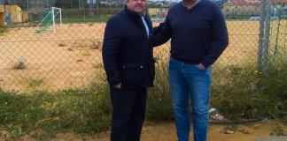 Juan Pedro Torralba y Joaquín Martínez, el lunes en Los Belones.