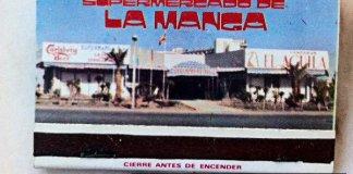Fotografía de una caja de cerillas con publicidad del Supermercado de La Manga en los 80.