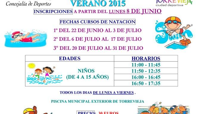 CARTEL CURSOS DE NATACIÓN VERANO 2015