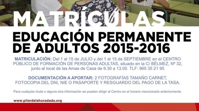 cartel matriculacion EPA 2015-2016