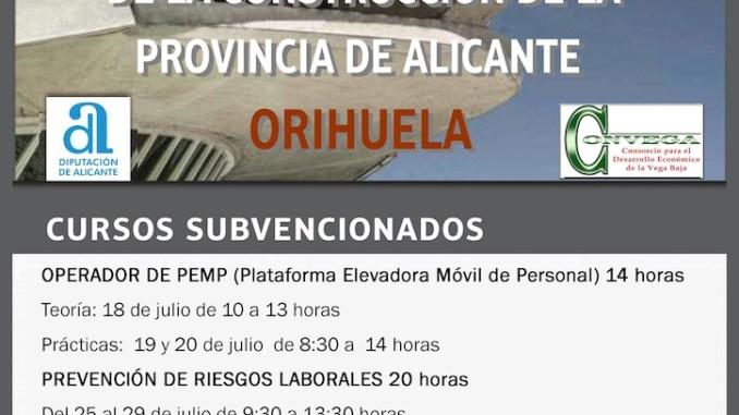Cartel Formación Construcción Orihuela Julio 2016