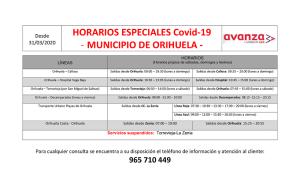 Horarios especiales establecidos en el transporte urbano de Orihuela como consecuencia del Coronavirus