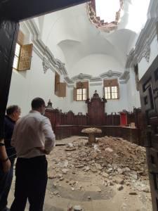 Se derrumba parte del techo de la sacristía de la Iglesia Santa Justa y Rufina de Orihuela