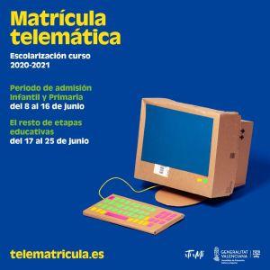 La Conselleria de Educación activa desde hoy la admisión telemática en la web telematricula.es