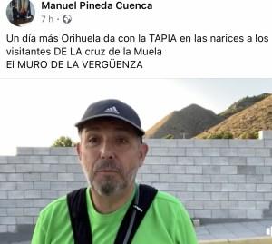 Pineda critica que hayan realizado un muro en la entrada común al sendero que sube a la Cruz de la Muela