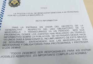 La Policía Local de Benejúzar sanciona a 42 personas por no llevar la mascarilla