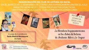 El Club de Lectura del IES Rafal amplía sus fronteras y se presenta en la Universidad de Alicante dentro de un seminario de literatura