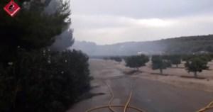 Los bomberos trabajan en un incendio forestal en San Miguel de Salinas durante unas diez horas