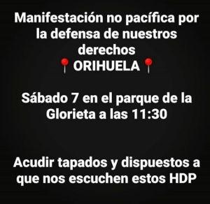 """Convocan por redes sociales una """"manifestación no pacífica"""" en Orihuela contra el toque de queda"""