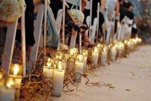 decoración boda iglesia velas