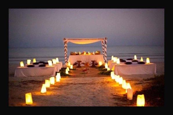 boda en la playa con velas