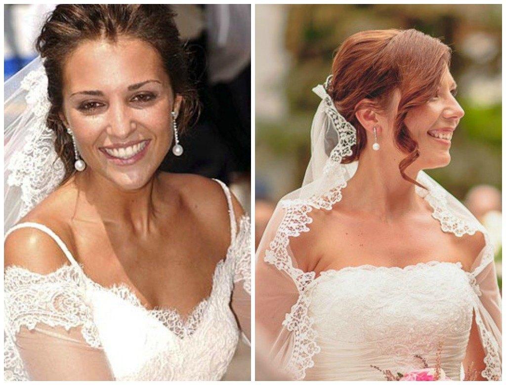 novias con pendientes de perlas