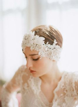 tocado de novia turbante de encaje