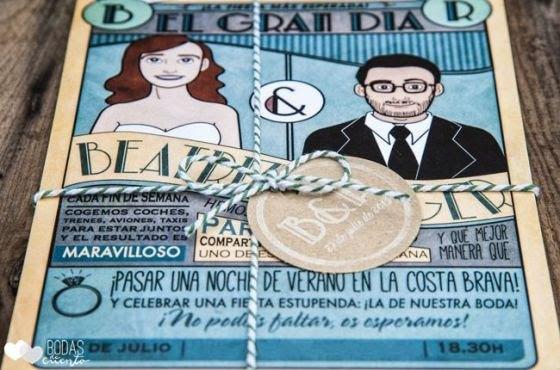invitaciones de boda comic