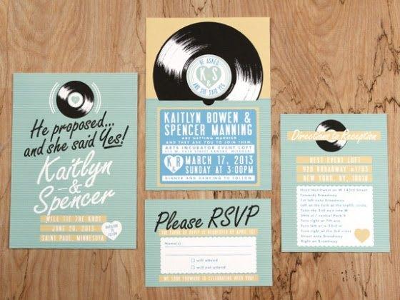 invitaciones de boda disco